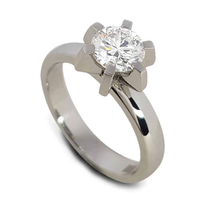 Bespoke platinum six claw diamond solitaire engagement ring