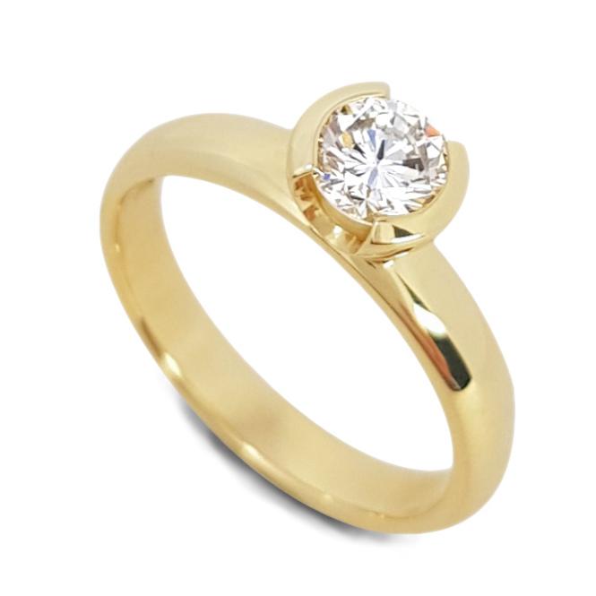 Semi bezel set diamond solitaire engagement ring
