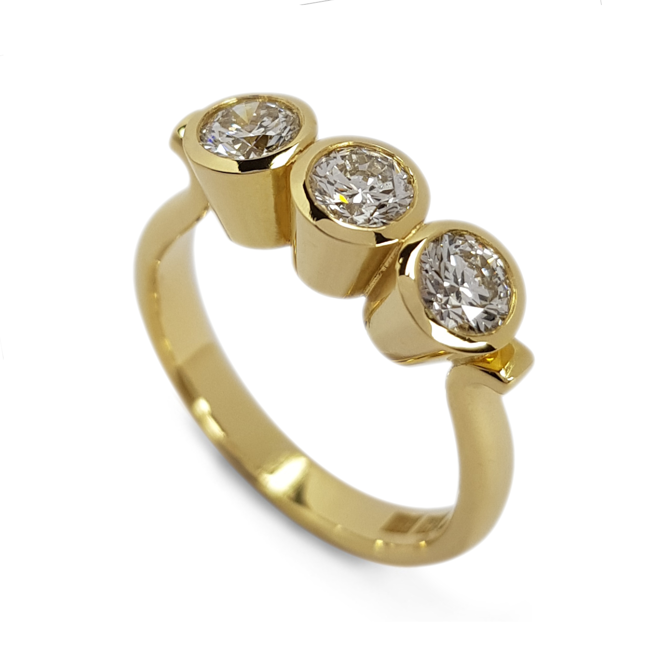 Rudolf Heltzel 3 stone bezel set diamond engagement ring made in 18ct gold, For those whose actions speak louder than words.