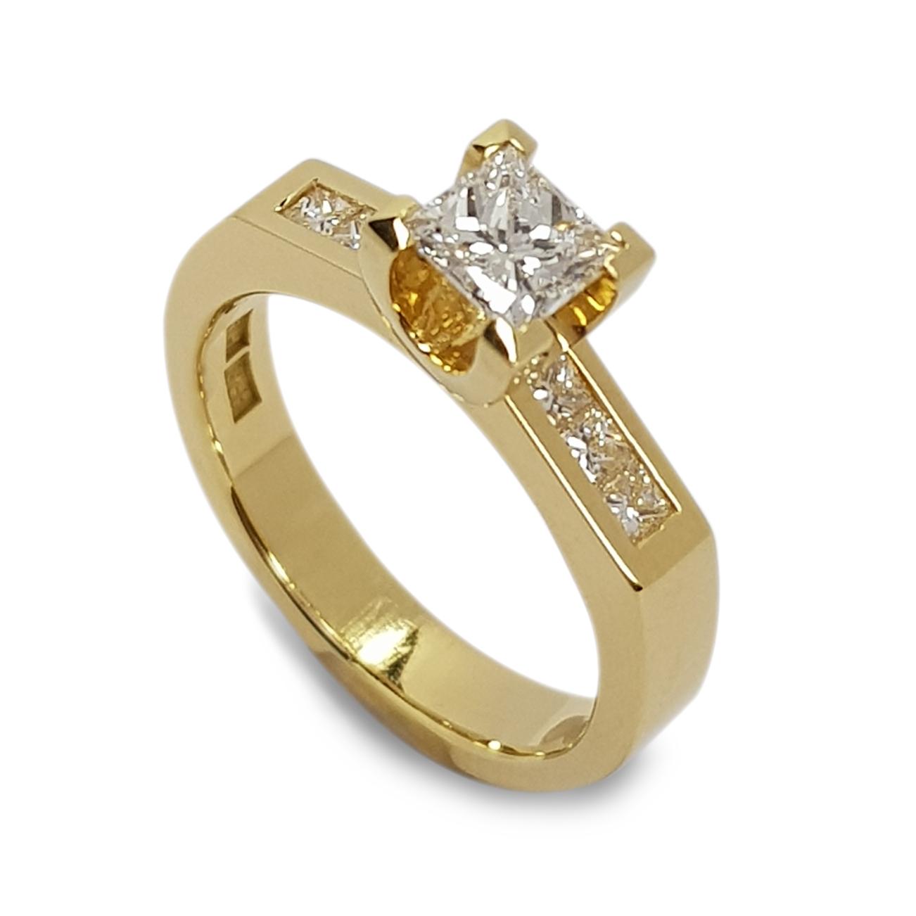 Rudolf Heltzel channel set side stone princess cut engagement ring